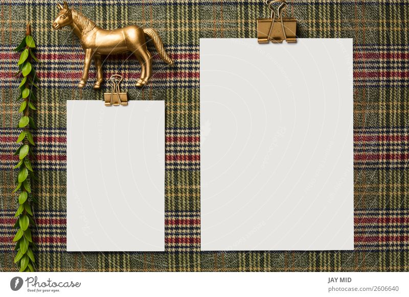 holiday menu decorated with golden ornaments Dinner Winter Decoration Table Thanksgiving Christmas & Advent New Year's Eve Horse Stationery Above Menu Mock-up