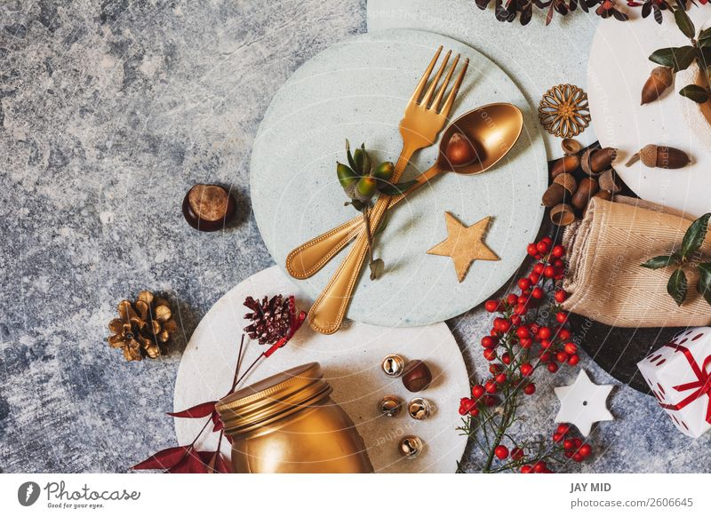 Holiday table setting funny Christmas table with ornaments Dinner Plate Joy Happy Winter Decoration Table Restaurant Easter Thanksgiving Christmas & Advent
