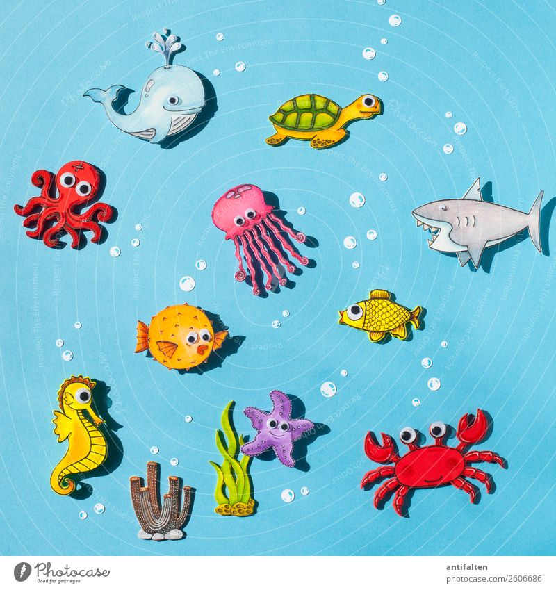 Vacation & Travel Summer Ocean Environment Tourism Swimming & Bathing Leisure and hobbies Waves Wild animal Adventure Group of animals Fish Summer vacation Draw