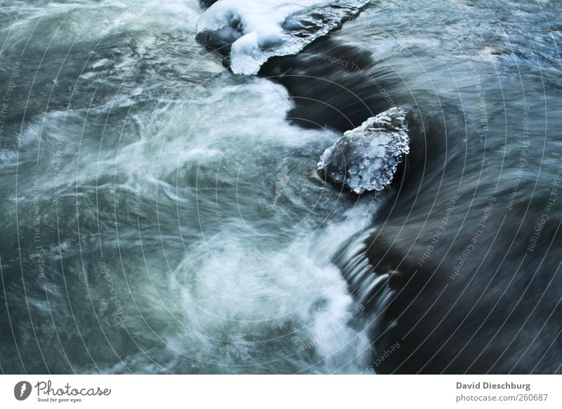 Lahn on the rocks Nature Water Winter Ice Frost Waves Brook River Waterfall Blue Black White Frozen Flow Body of water Cold Foam Surface of water Whirlpool