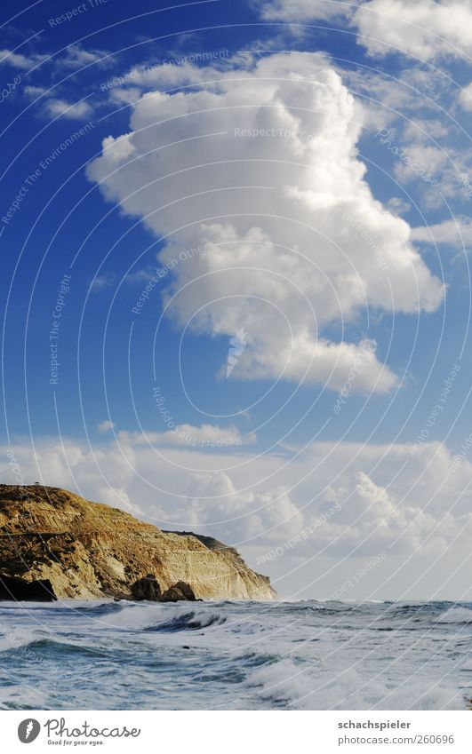 Sky Nature Blue Water White Ocean Clouds Landscape Coast Brown Waves Power Island Elements Cliff Mediterranean sea