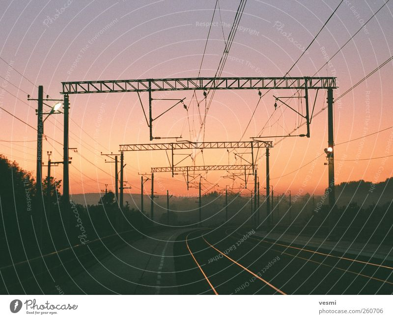 Dark Warmth Energy industry Transport Railroad Electricity Perspective Technology Railroad tracks Traffic infrastructure Electricity pylon Cloudless sky Track