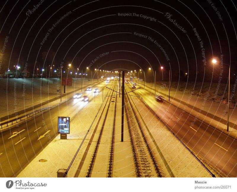 Street Dark Snow Car Transport Railroad Advertising