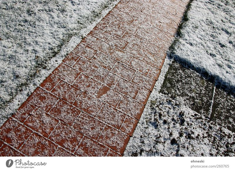 Paths and paths Ice Frost Snow Garden Meadow Lanes & trails Road junction Paving stone Cobbled pathway Stone Line Cold Loneliness Perspective Triangle