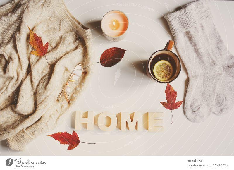 autumn or winter feminine flat lay Lifestyle Style Winter Table Feminine Woman Adults Autumn Leaf Fashion Clothing Sweater Candle Hip & trendy White