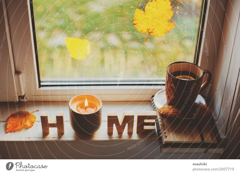 cozy autumn morning at home. Hot tea and candle Breakfast Tea Lifestyle Relaxation Reading Autumn Weather Rain Leaf Safety (feeling of) Comfortable cup window