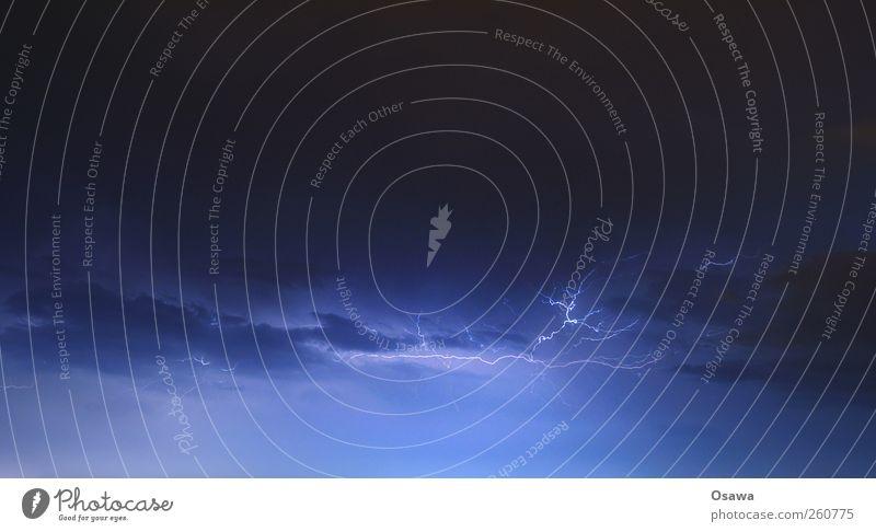 Sky Blue Clouds Weather Electricity Storm Lightning Thunder and lightning Tension Landscape format Lightning bolt