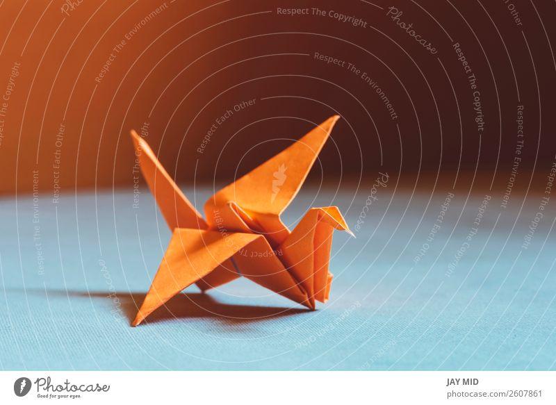 Orange origami bird , a bird made of paper-origami. Design Leisure and hobbies Handcrafts Decoration Craft (trade) Art Culture Animal Bird Paper Toys Hope Peace