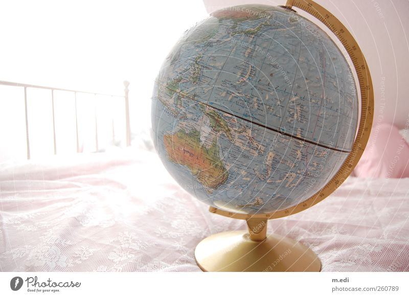 i want to travel the world with you! Bed Globe Map Australia Sphere Bright Longing Wanderlust Colour photo Interior shot Light