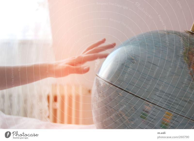 spinning the world around Map Car Window Sphere Globe Bright Longing Homesickness Wanderlust Colour photo Interior shot Motion blur