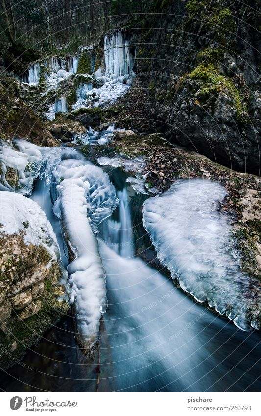 -15° Environment Nature Water Winter Ice Frost Brook Waterfall Cold Natural Blue Bizarre Colour photo Exterior shot Long exposure Motion blur Wide angle