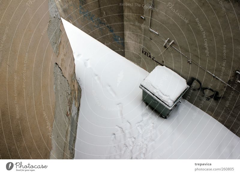 ... Winter Weather Bad weather Snow Building Wall (barrier) Wall (building) Concrete Old Gray White Arrangement Calm Deserted Bird's-eye view