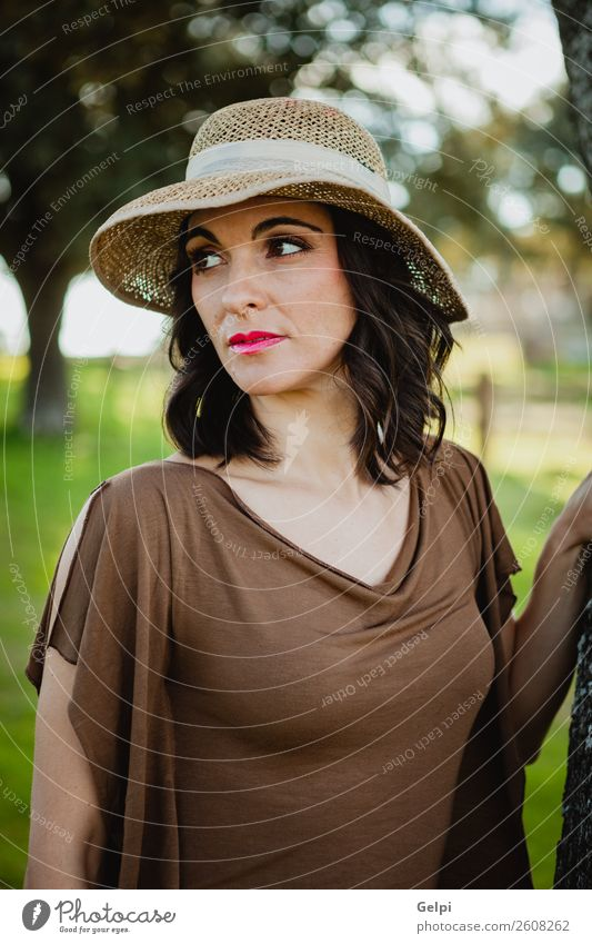 Stylish woman Lifestyle Style Beautiful Face Human being Woman Adults Nature Landscape Tree Fashion Clothing Hat Brunette Eroticism Cute Retro Brown girl young