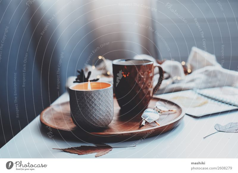 cozy autumn or winter morning at home. Breakfast Tea Lifestyle Relaxation Winter Decoration Table Book Landscape Autumn Wood Hot Natural Brown