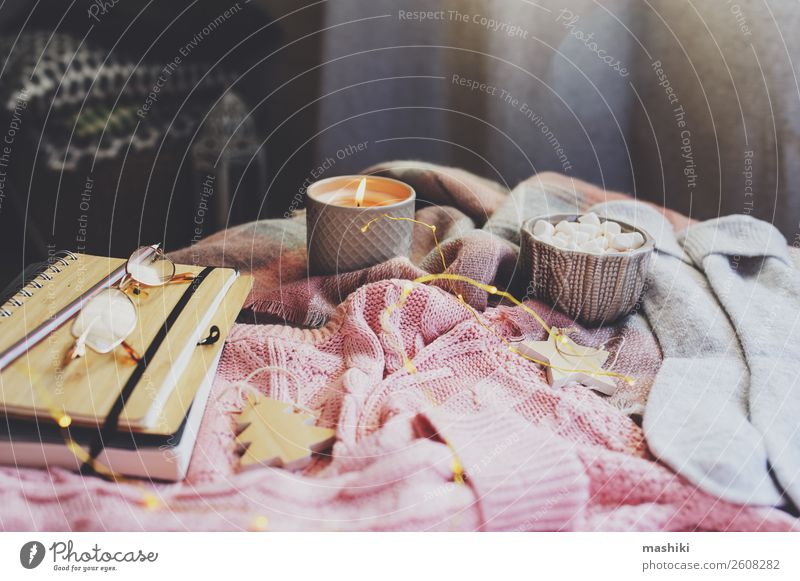 cozy autumn or winter morning at home. Breakfast Hot Chocolate Lifestyle Relaxation Winter Decoration Table Book Landscape Autumn Warmth Leaf Sweater Scarf