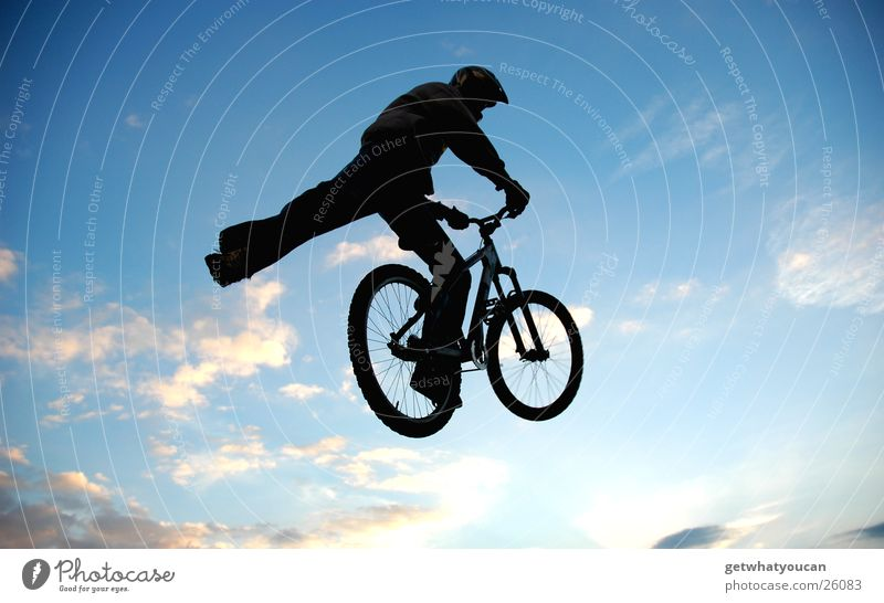 foot away Bicycle Jump Trick Stunt Ramp Air Back-light Clouds Black Extreme sports Brave Fear Flying street Feet Sky