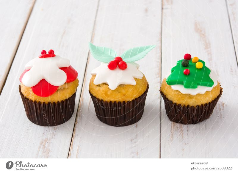 Homemade Christmas cupcakes Food Healthy Eating Food photograph Baked goods Cake Dessert Candy Breakfast Christmas & Advent Good Sweet Red Cupcake Sugar