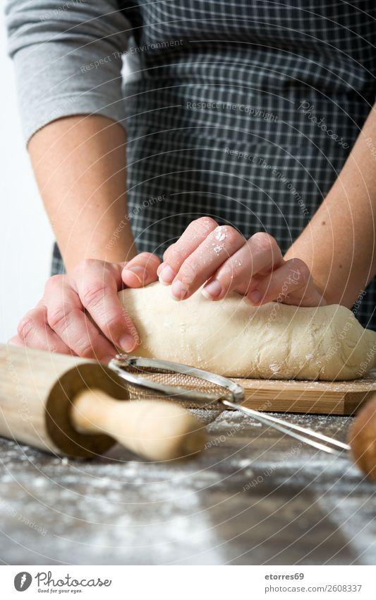 Woman kneading bread dough Bread Make Hand Kitchen Apron Flour Yeast Home-made Baking Dough Human being Preparation Stir Ingredients Raw