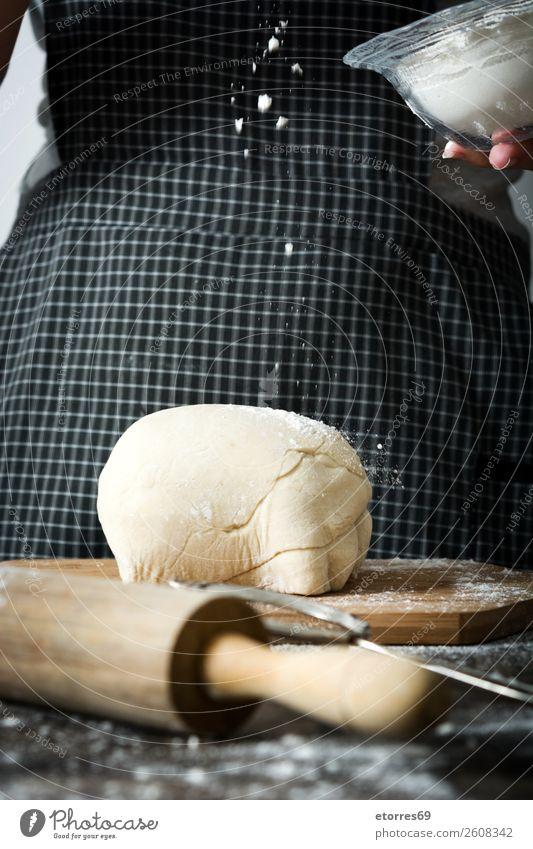 Woman kneading bread dough Bread Make Heading Hand Kitchen Apron Flour Yeast Home-made Baking Dough Human being Preparation Stir Ingredients Raw