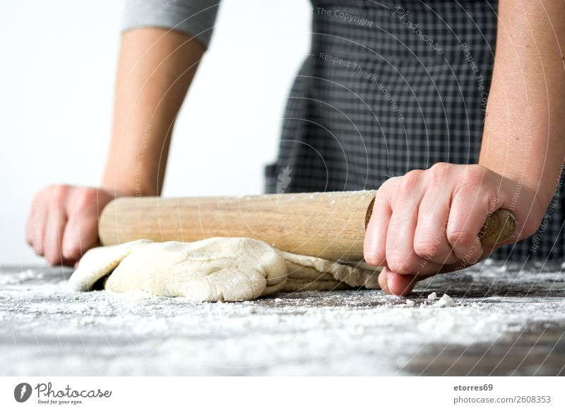 woman kneading bread dough with her hands Woman Bread Make Kneel Hand Kitchen Apron Flour Yeast Home-made Baking Dough Human being Preparation Stir Ingredients