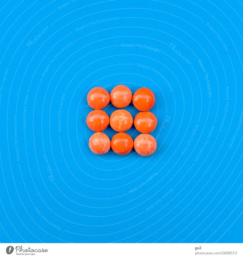Orange Pills Food Candy Chocolate Nutrition Diet Fasting Healthy Health care Medical treatment Medication Esthetic Delicious Round Blue To enjoy Colour photo