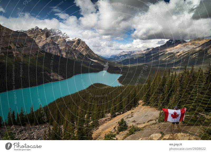 Canada is so beautiful... Vacation & Travel Tourism Trip Far-off places Freedom Expedition Mountain Man Adults 1 Human being Clouds Forest Rocky Mountains Lake