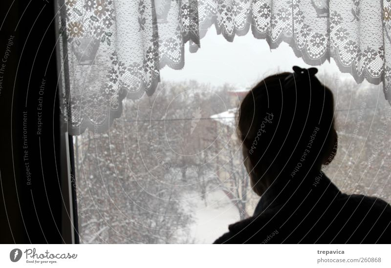 nana III Grandmother Woman Window Old Loneliness Curtain Back Row Boredom Sadness Looking Senior citizen 60 years and older Silhouette Observe Winter Within