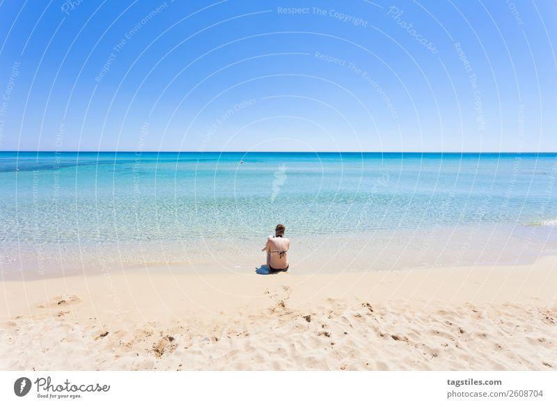 Lido Venere, Apulia, Italy Adriatic Sea Swimming & Bathing Beach Beautiful weather Coast Colour Multicoloured Infinity Europe Woman Footprint Horizon Idyll