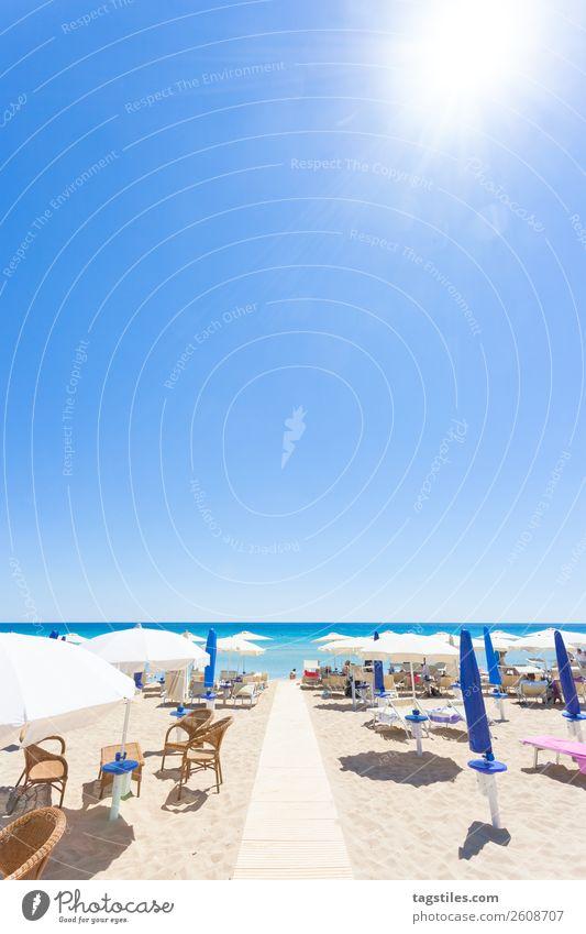 Apulia, Italy - At the beach of Lido Venere Adriatic Sea Swimming & Bathing Beach Coast Europe Footprint Landscape Lie (Untruth) Mediterranean sea Sunshade