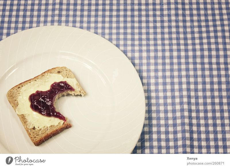 Blue White Nutrition Food Appetite Breakfast Plate Divide Bread Checkered Lovesickness Tablecloth Disappointment Toast