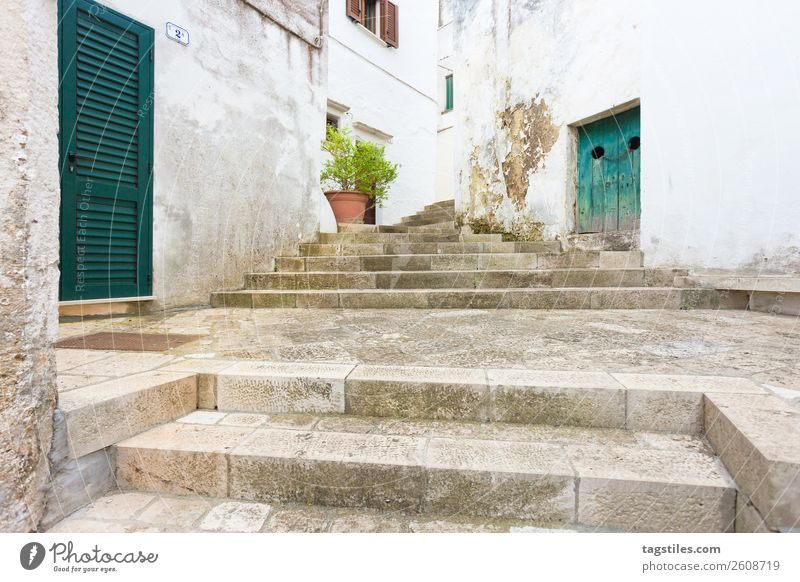 Specchia, Apulia - Walking up a historic stairway Alley Ancient Architecture Barn door Hunting Blind Building City Closed Keep sth. closed  Cobblestones Door