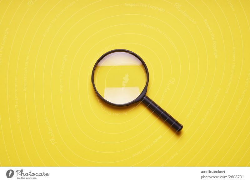 Magnifying glass on yellow background Design Leisure and hobbies Observe Yellow Zoom effect Background picture Symbols and metaphors Search Magnifying effect