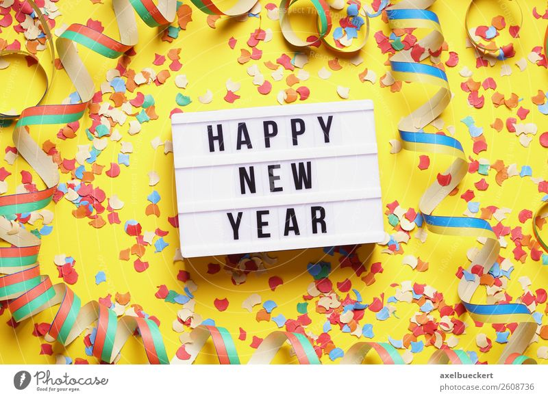 Happy New Year - New Year's Party Flat Lay Lifestyle Leisure and hobbies Event Feasts & Celebrations New Year's Eve Hip & trendy Yellow happy new year Text