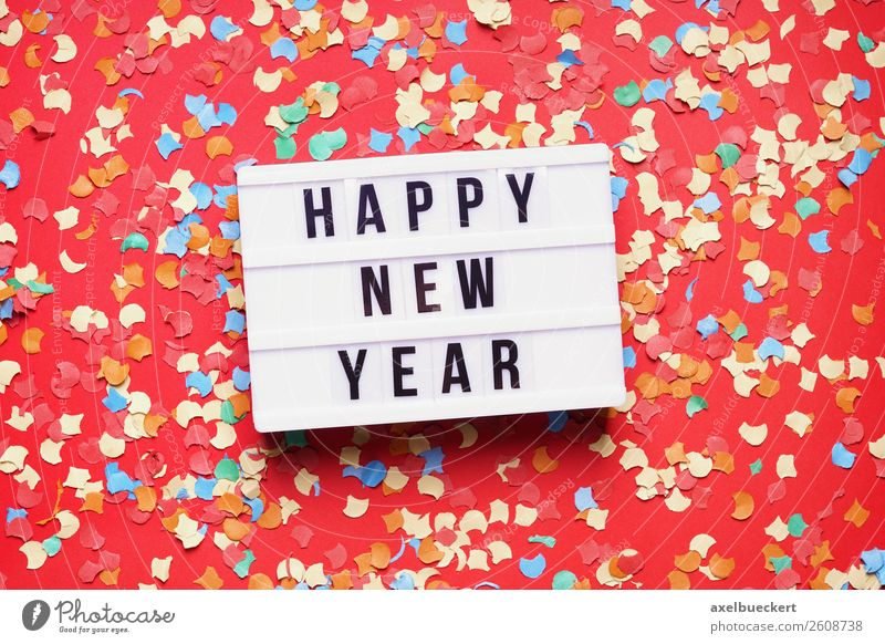 Red Background picture Lifestyle Feasts & Celebrations Party Leisure and hobbies Signs and labeling Event New Year's Eve Text Confetti Lightbox