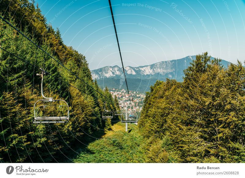Cable Car Travel Above Carpathian Mountains In Romania Sky Vacation & Travel Nature Summer Plant Blue Town Colour Beautiful Green Landscape Tree Leaf Forest