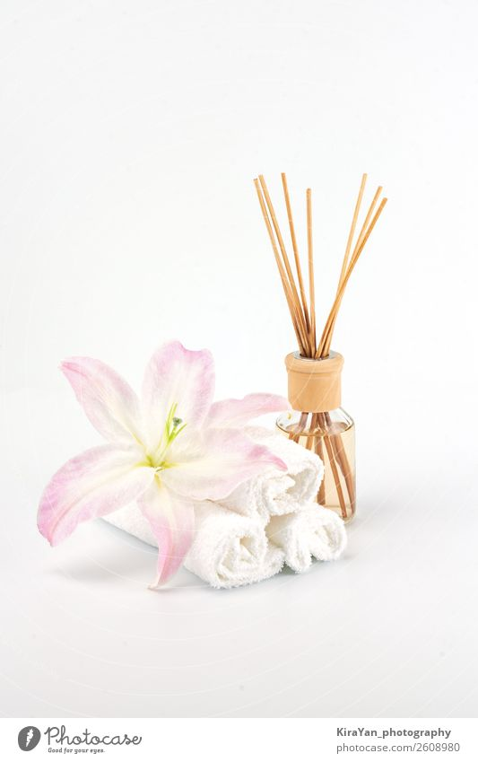 Spa decoration with pink lily, white towels and aroma oil Woman Beautiful White Relaxation Adults Natural Copy Space Pink Decoration Body Skin Gift Candle