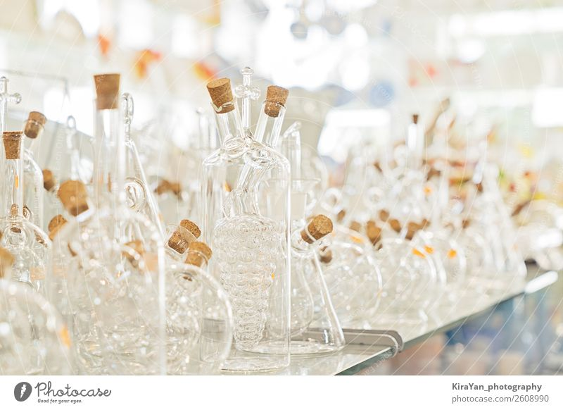 Variety of transparent bottles of kitchen utensils Bottle Shopping Elegant Vacation & Travel Decoration Table Work and employment Factory Industry Art Culture