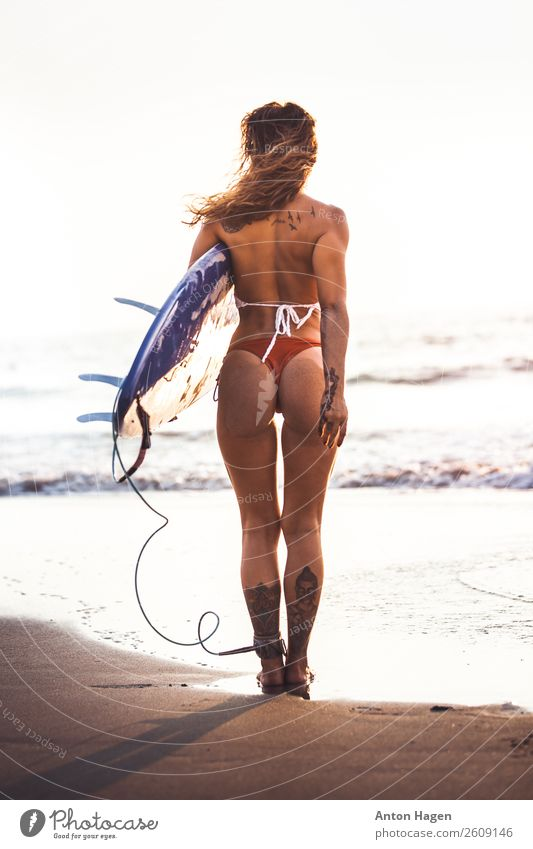 Surfer girl on standing on the beach Lifestyle Athletic Fitness Well-being Feminine Young woman Youth (Young adults) 1 Human being 18 - 30 years Adults