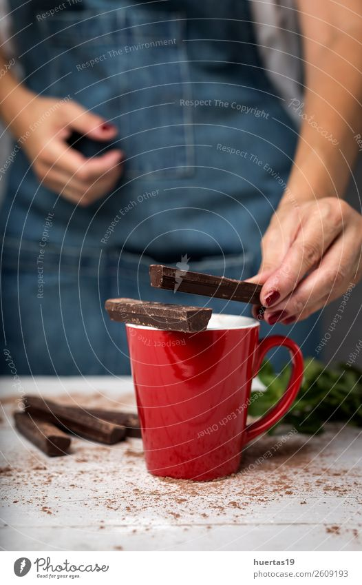 woman's hands close up holding a cup of hot chocolate Breakfast Beverage Hot drink Hot Chocolate Winter Woman Adults Hand Wood catching Hold background sweet