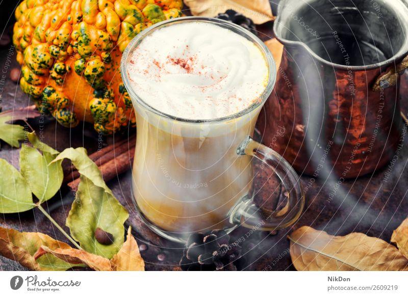 Latte autumn hot drink coffee pumpkin latte squash cappuccino beverage fall cinnamon still life vintage leaf yellow leaves creamy season mug aroma retro
