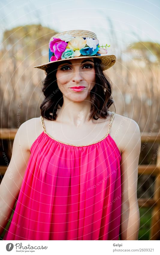 Pretty brunette woman Lifestyle Style Beautiful Human being Woman Adults Nature Landscape Flower Fashion Clothing Dress Hat Brunette Eroticism Cute Retro Pink