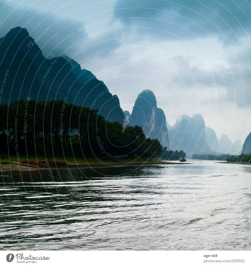 Into the Unknown Environment Nature Landscape Plant Air Water Rock River bank karst China Asia Discover Driving Exceptional Threat Blue Brown Gray Green White