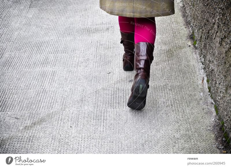 research step by step Style Human being Feminine Young woman Youth (Young adults) Gray To go for a walk Sidewalk Tights Boots Pink Violet Going Stride Movement