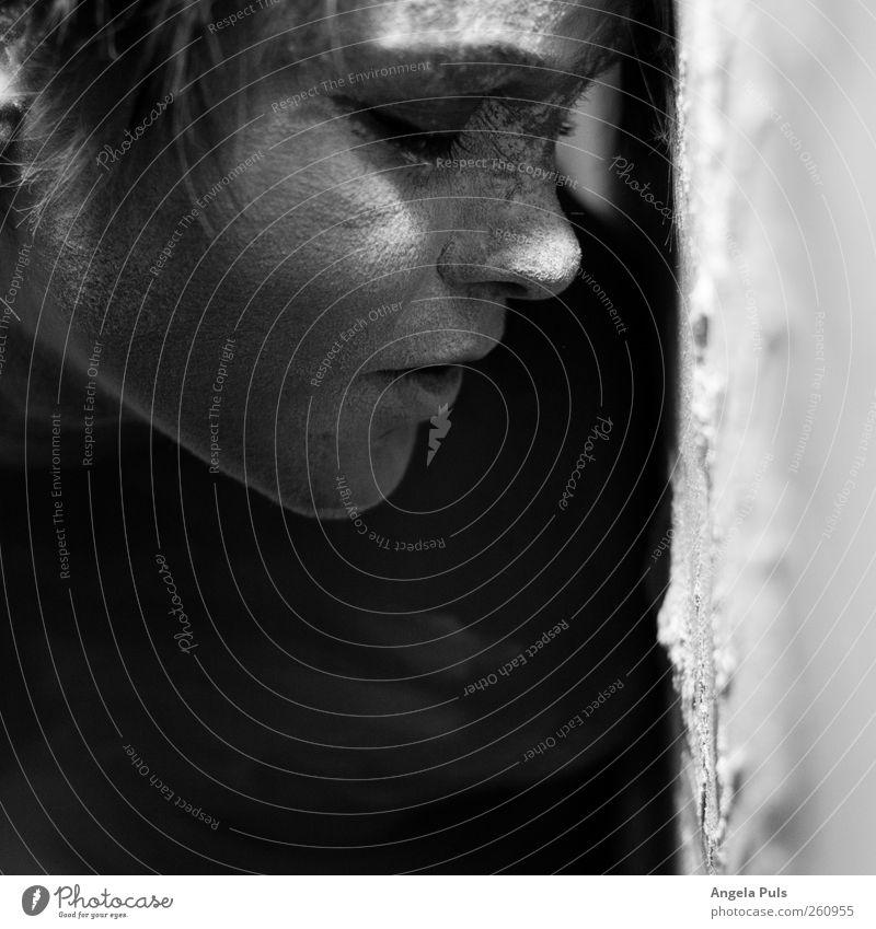 Human being Woman Calm Adults Feminine Emotions Head Moody Lie Sleep Hope Near Belief Dust Humble Black & white photo