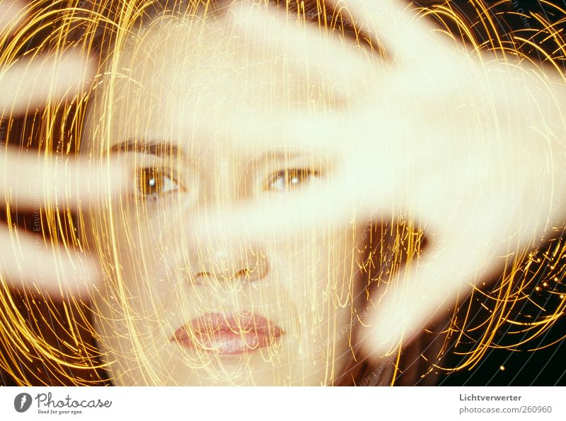 Lichtsynapsen // Human being Woman Hand Adults Feminine Movement Head Contentment Energy Esthetic Chaos Bizarre Irritation Swirl Abstract Portrait photograph