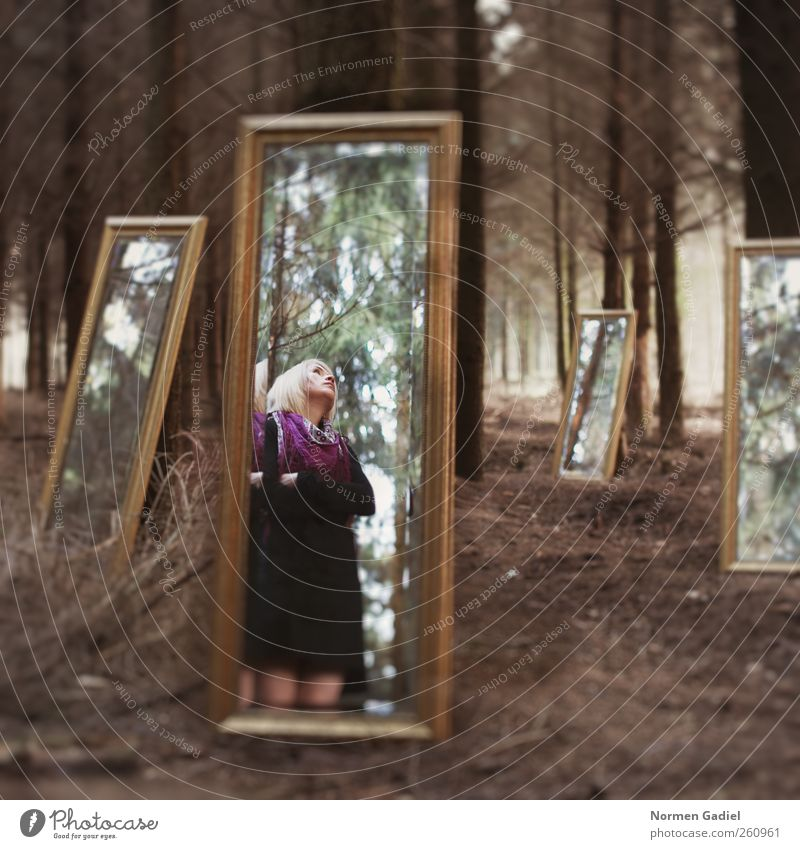 mirror image Nature Youth (Young adults) Beautiful Tree Adults Forest Art Body Blonde 18 - 30 years Young woman Mirror Skirt Work of art
