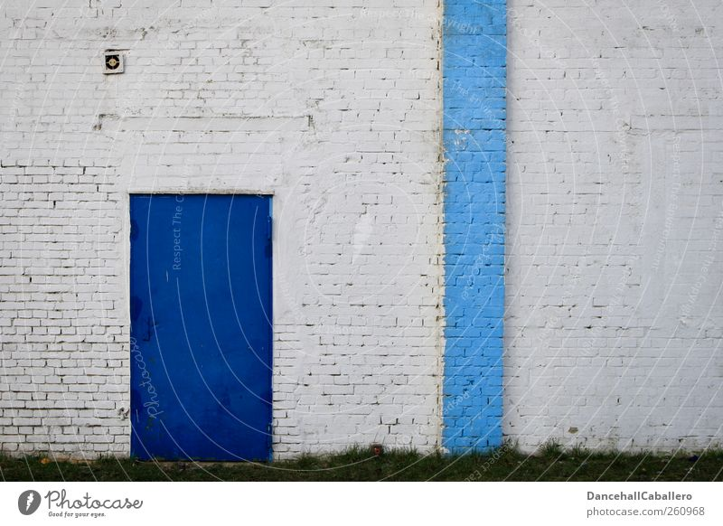 Blue White House (Residential Structure) Wall (building) Architecture Wall (barrier) Building Metal Door Closed Exceptional Stripe Long Brick Symmetry Painted
