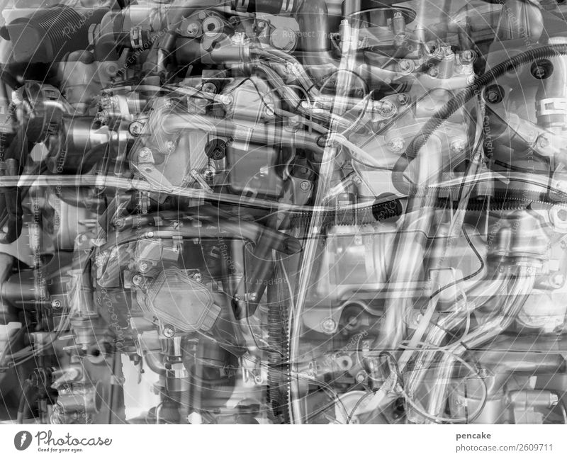 complex darn technology Hardware Machinery Engines Technology Metal Complex Double exposure Muddled Iron-pipe Cable Screw Black & white photo Interior shot