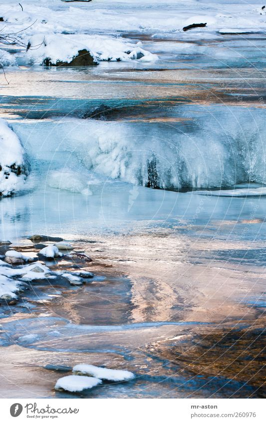 Icy Water 3 Environment Nature Landscape Elements Winter Ice Frost Snow Brook Stone Esthetic Cold Wet Blue Black White Calm Colour photo Exterior shot Deserted