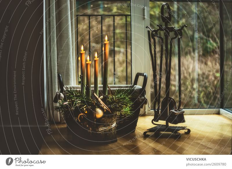Christmas & Advent Winter Window Lifestyle Interior design Style Feasts & Celebrations Living or residing Design Flat (apartment) Decoration Candle Tradition